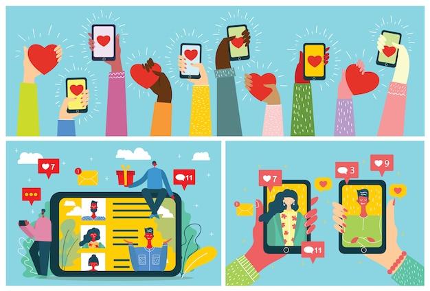 Concept op online datingapplicatie in plat ontwerp. mannelijke en vrouwelijke handen met mobiele telefoons met abstract dating app-profiel tentoongesteld.