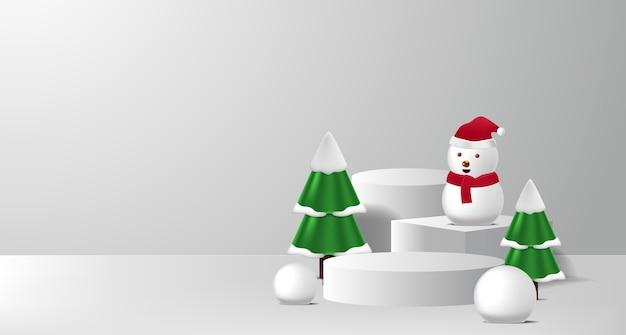 Concept podiumproductvertoning voor kerstmis en gelukkig nieuwjaar met sneeuwman en spar