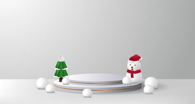 Concept podiumproductvertoning voor kerstmis en gelukkig nieuwjaar met sneeuwman