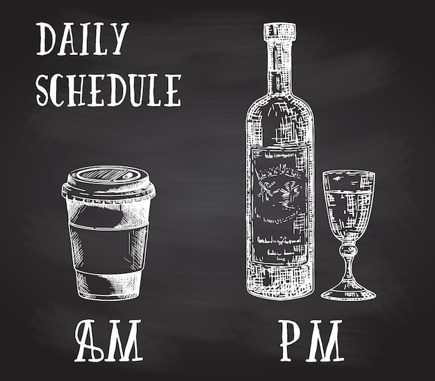 Concept poster met drinkgewoonten. koffie in de ochtend en alcohol in de avond. hand getrokken schets op schoolbord. kopje koffie te gaan en fles wijn met glas