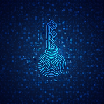 Concept privésleutel op de achtergrond van de cryptocurrency-technologie