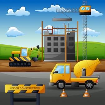 Concept procesbouwwerf met apparatuur