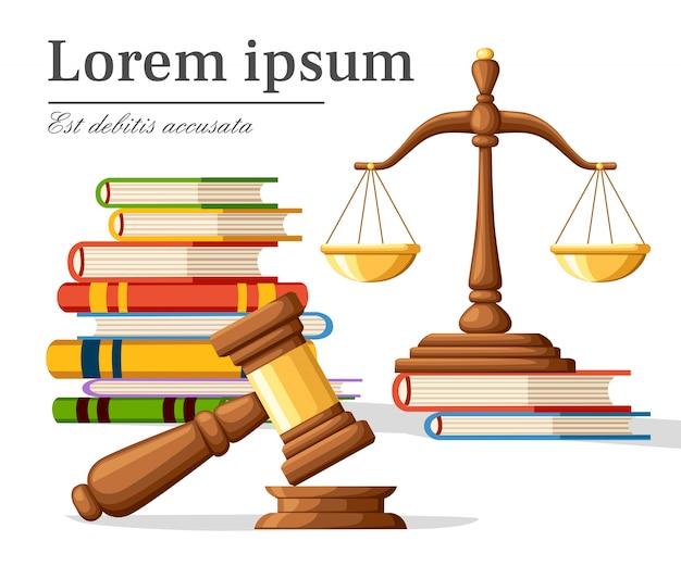 Concept rechtvaardigheid in cartoon-stijl. justitie schalen en houten rechter hamer. wet hamer bord met boeken van wetten. juridisch recht en veilingsymbool. illustratie op witte achtergrond