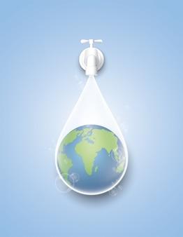 Concept red de dag van de aarde en het wereldwater.