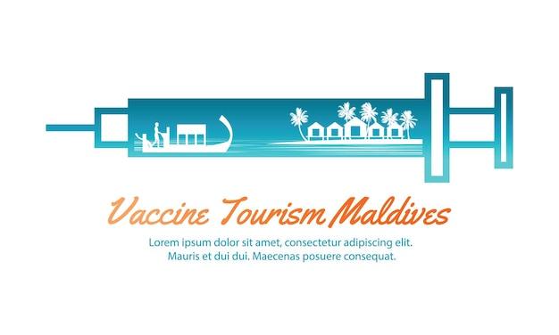Concept reiskunst van vaccintoerisme van de malediven