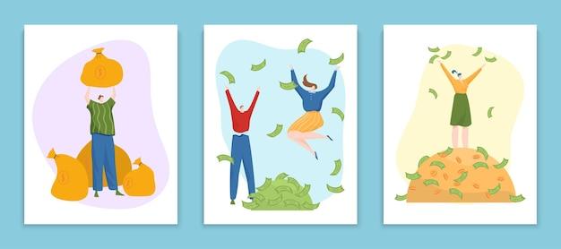 Concept rijke mensen die contant geld verkwisten