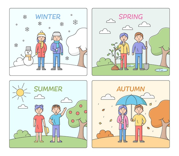 Concept seizoenen. mensen vrije tijd en kleding volgens de tijd van het jaar. zomer, herfst, winter en lente met mannelijke en vrouwelijke karakters. cartoon lineaire omtrek platte vector illustraties set.