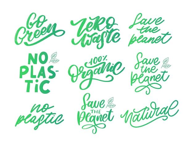 Concept set nul afval handgeschreven tekst titel teken vectorillustratie