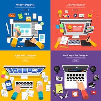 Concept set ontwerper van website, grafisch, applicatie en motion graphic. vector illustreren.