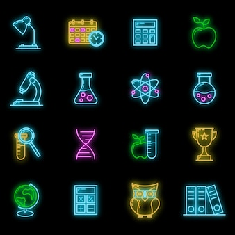Concept set terug naar school neon gloed pictogram, 16 briefpapier onderwijs item onderwijsproces, platte omtrek vectorillustratie, geïsoleerd op zwart. wetenschappelijk materieel symbool en training.