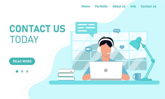 Concept sjabloon voor website en banner chat klantenservice ondersteuning.
