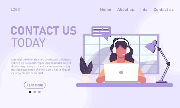 Concept sjabloon website en banner chat klantenservice klantenservice. meisje in hoofdtelefoonsexploitant die aan laptop werken die van huisbureau werken, online opleiding. vlakke stijl, afbeeldingen