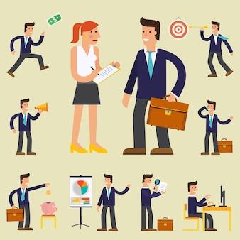 Concept stripfiguur illustraties zakenman die een rapport presenteert, een doelwit raakt, informatie zoekt en met collega praat