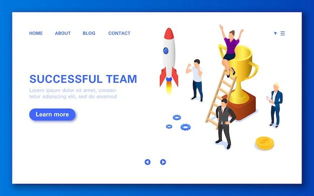Concept succesvol team. een groep mensen die een startup lanceren.