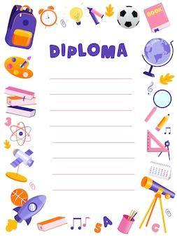 Concept terug naar school en prijsuitreiking. mooie kleurrijke school of voorschoolse diploma