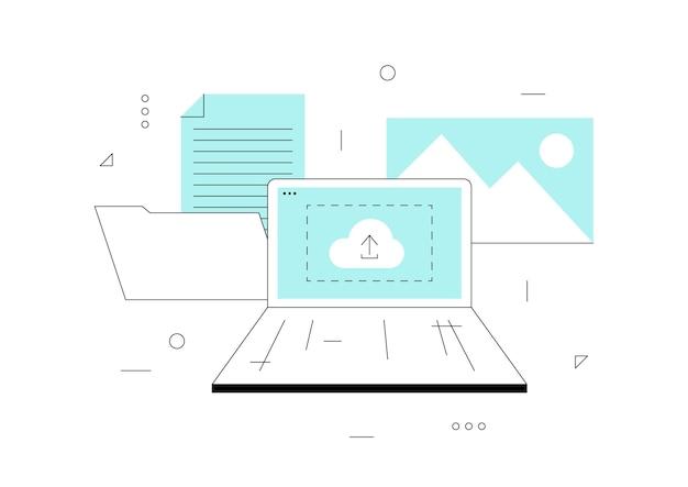 Concept upload illustratie voor webpagina cloud upload icoon op computerscherm