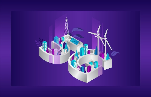 Concept van 5g-netwerkgeneratie. futuristische stad met 5g-internet met alternatieve energiebronnen. 5g-netwerk draadloze snelle internetverbinding wi-fi-verbinding.