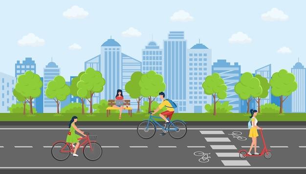 Concept van activiteit in een openbaar stadspark tegen de achtergrond van stadsgebouwen.
