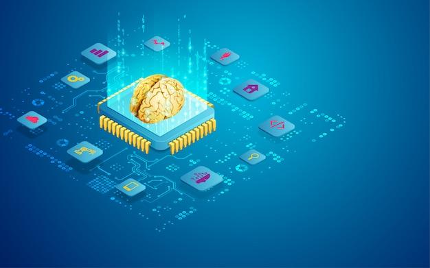 Concept van ai-technologie als microchip met hersenen