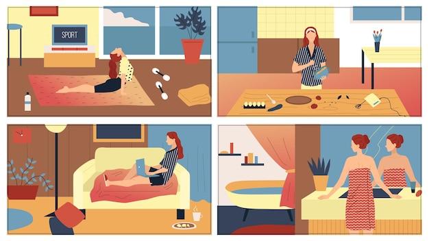 Concept van alledaagse vrouw vrijetijdsroutine en werkactiviteiten