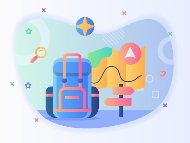 Concept van backpacker reizen rugzak kaart navigatie wegwijzer met vlakke stijl.