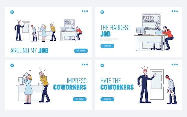 Concept van beklemtoonde kantoorsituaties, werk en personeel.