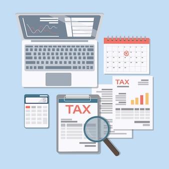 Concept van belasting- en boekhoudkundig rapport en berekening van belastingaangifte