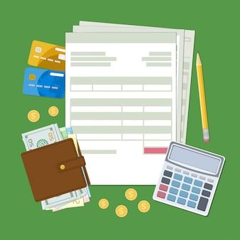 Concept van belastingbetaling en factuur. belasting, rekeningen, portemonnee met contant geld, gouden munten, creditcards, rekenmachine, potlood. illustratie.