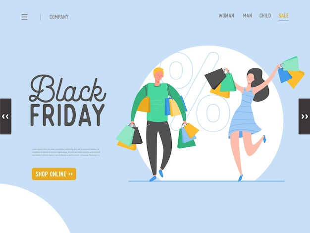 Concept van bestemmingspagina op shopping-thema, black friday online sale. voor het ontwerpen van mobiele websites en webpagina's. platte man en vrouw tekens met winkelen