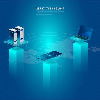 Concept van big data processing, energie station van de toekomst, datacenter, cryptocurrency en blockchain