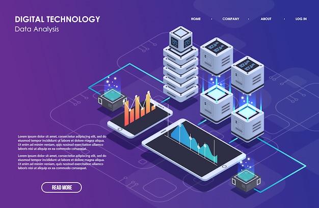 Concept van big data-verwerking, isometrisch datacenter, vector informatieverwerking en opslag. creatieve illustratie met abstracte geometrische elementen.