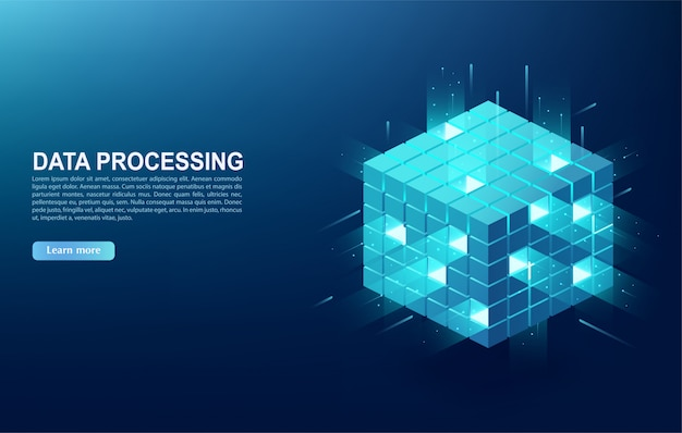 Concept van big data-verwerkingscentrum, clouddatabase, server-energiestation van de toekomst. digitale informatietechnologieën in de vorm van een kubus, webbanner.