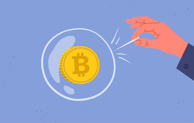 Concept van bitcoin-zeepbel en speculatie. financiële zeepbel. vlakke afbeelding.