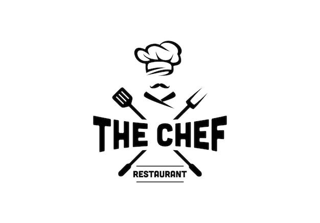 Concept van chef-kok hoed, spatel, vork. restaurant chef-kok logo ontwerpsjabloon inspiratie