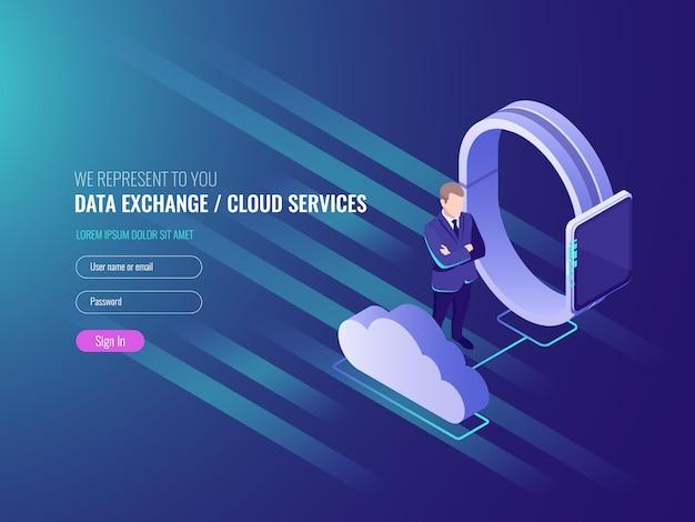 Concept van cloud-server data exchenge, cloud-diensten, slimme horloge met zakenman