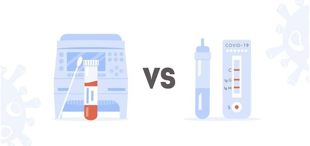 Concept van covid rt pcr versus snelle test. vergelijking tussen polymerase chain reaction en express test. thermocycler voor coronavirus-test en coronavirus-testkit. vectorillustratie vlakke stijl.