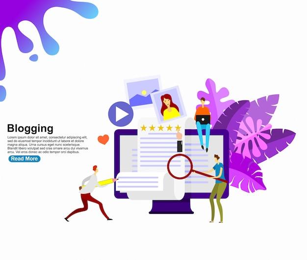 Concept van creatief bloggen. achtergrond sjabloon