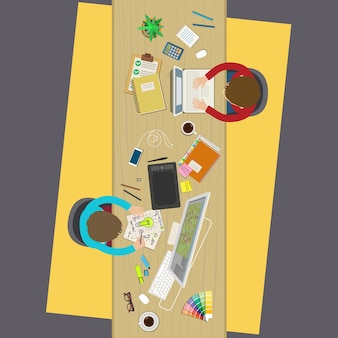 Concept van creatief teamwerk zakelijke bijeenkomst en brainstormen platte ontwerp illustratie