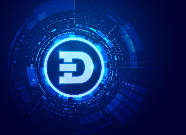 Concept van cryptocurrency-technologie, afbeelding van dogecoin met futuristisch element