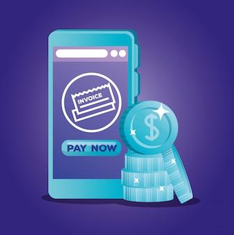 Concept van de bank online met smartphone en munten