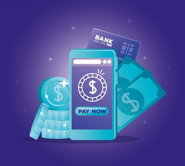 Concept van de bank online met smartphone