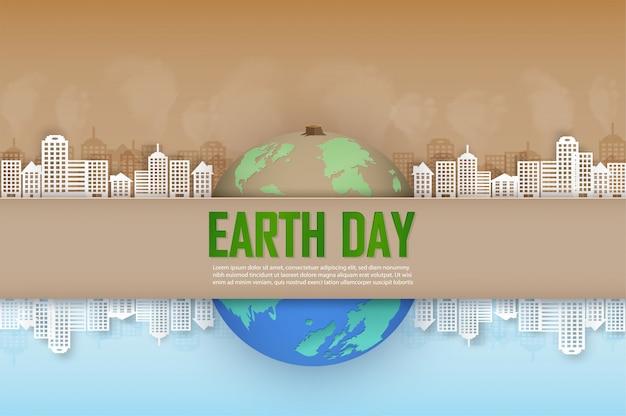 Concept van de campagne en helpen onze wereld te behouden en bomen te planten voor een mooie toekomst.
