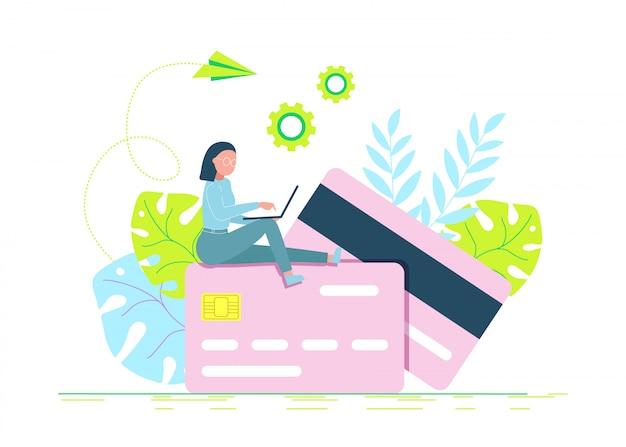 Concept van de creditcard het online betaling met de moderne mens die te betalen laptop, geldterminal en rekening gebruiken