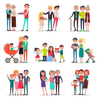 Concept van de dag van de ouders. jonge en oude moeders en vaders accepteren felicitaties en geschenken van kinderen