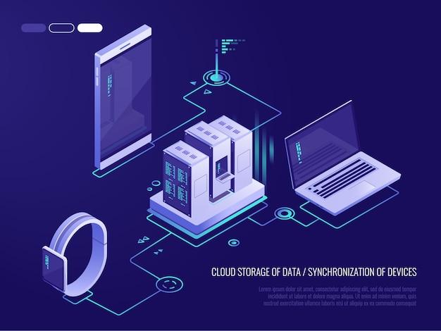 Concept van de gegevenskaart van het gegevensnetwerk met bedrijfs voorzien van een netwerkservers