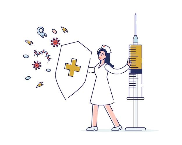 Concept van de gezondheidszorg en vaccinatie van kinderen