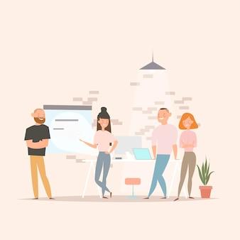 Concept van de illustratie van het coworking-centrum