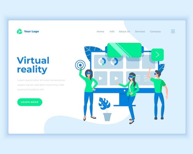 Concept van de landingspagina sjabloon virtuele realiteit met kantoormensen.