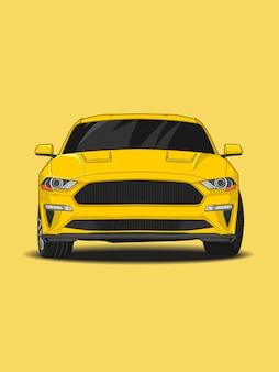 Concept van de raceauto het gele kleur