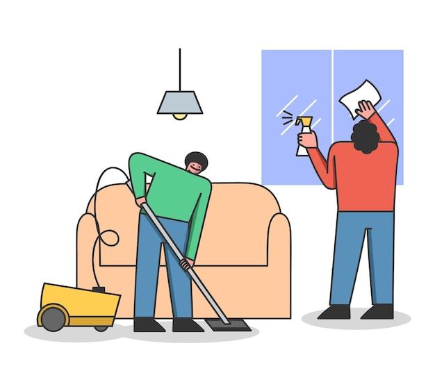 Concept van de schoonmaakservice